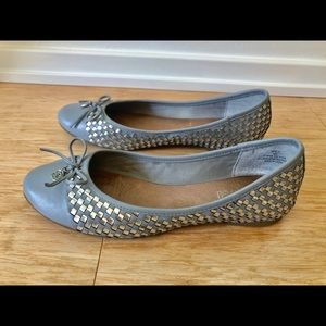 Gray Silver Sperry Ballet Flats SZ 10